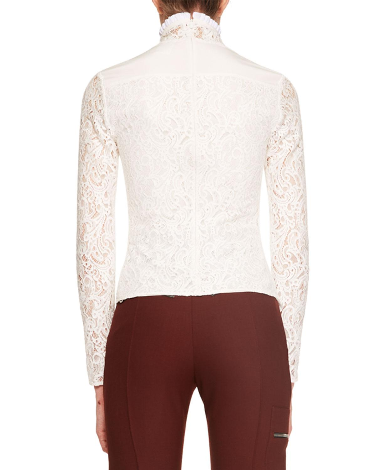 db7ab4f4191 Chloé Long-sleeve Lace Turtleneck Top in White - Lyst