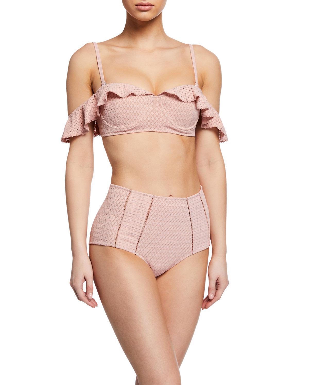 293f33c3de50b Lyst - Jonathan Simkhai Lace Ruffle Cold-shoulder Bikini Top in Pink
