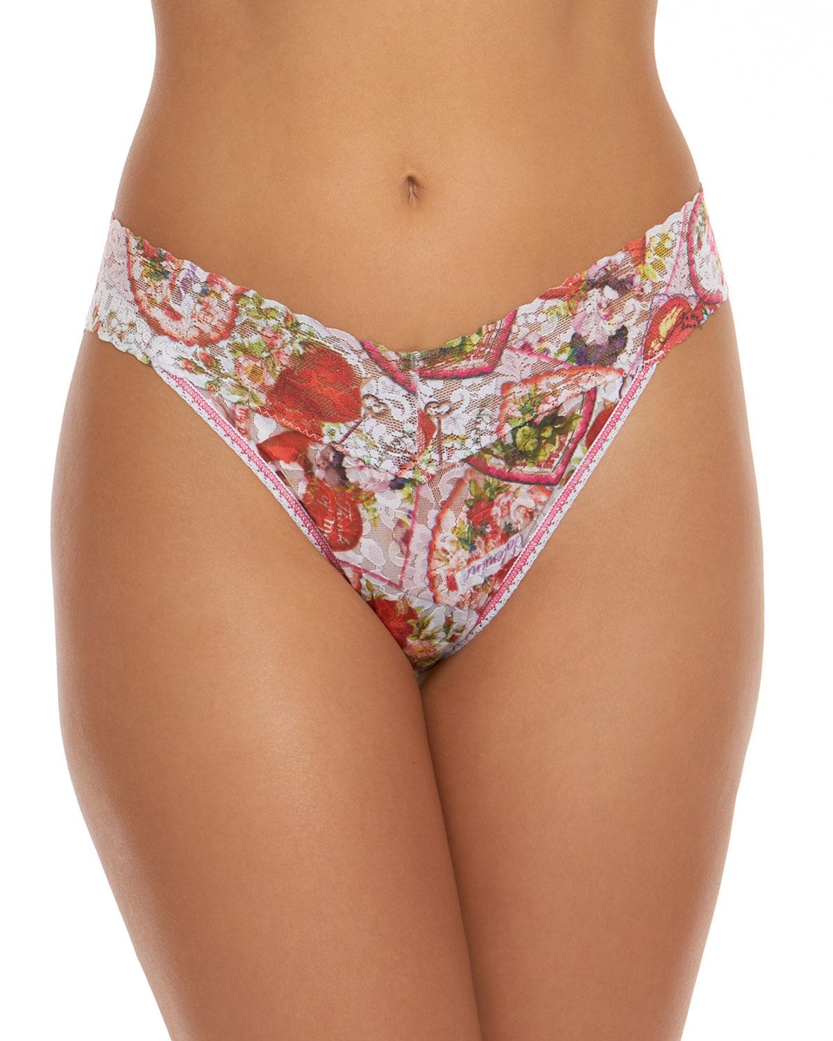 f09fac694cc Lyst - Hanky Panky Vintage Valentine Lace Original-rise Thong in Pink