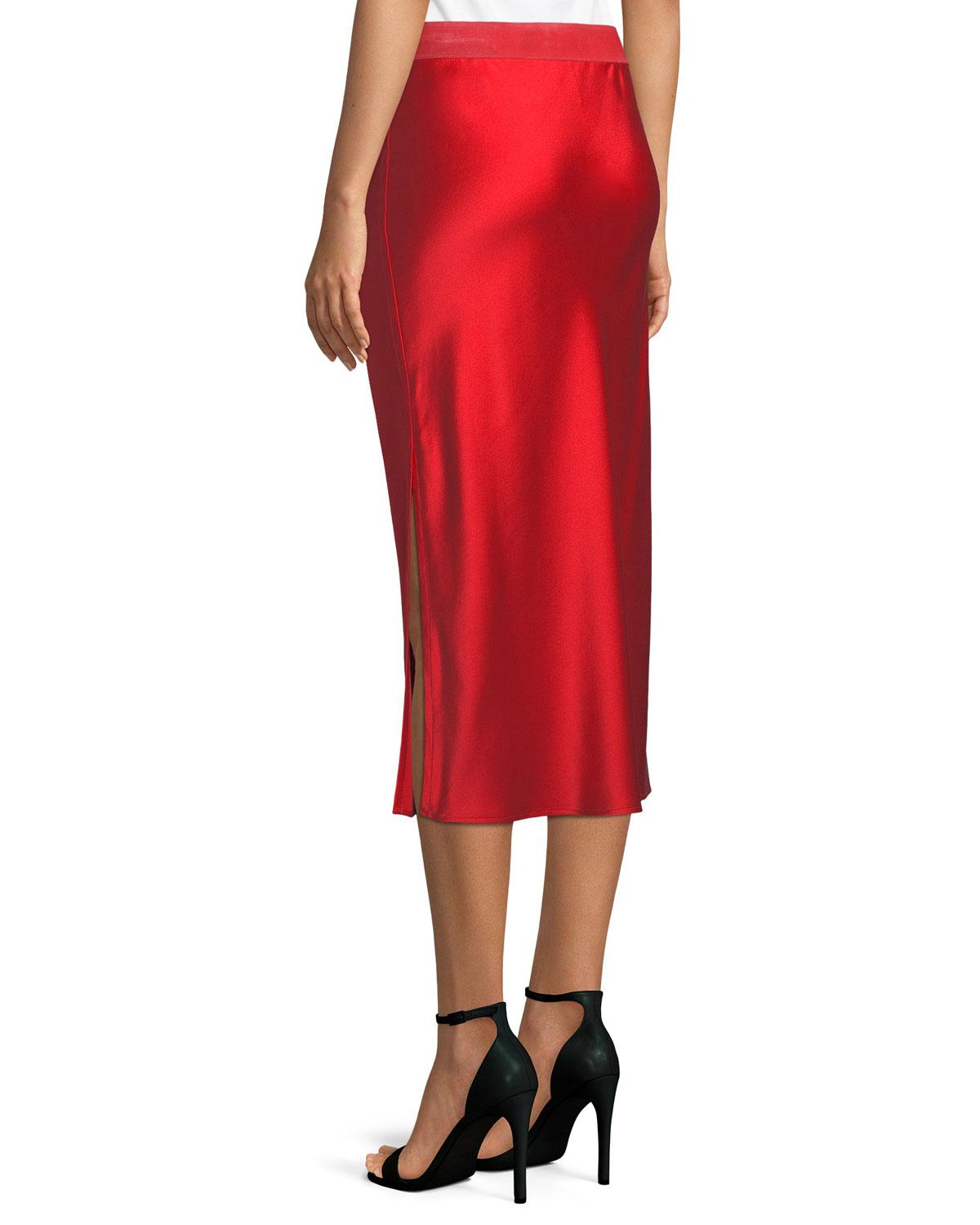 49db783c282 Theory Pull-on Silk Slip Midi Skirt in Red - Lyst