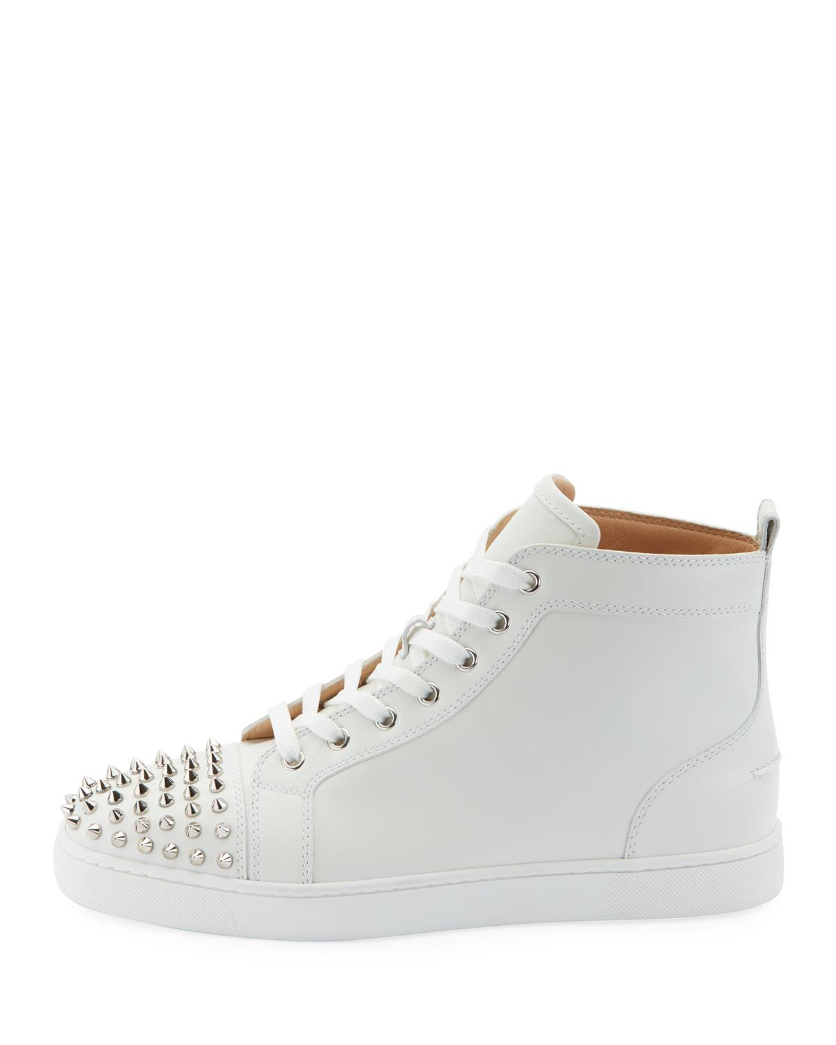 606cc7c70c80 Lyst - Christian Louboutin Men s Lou Spikes High-top Sneakers in White