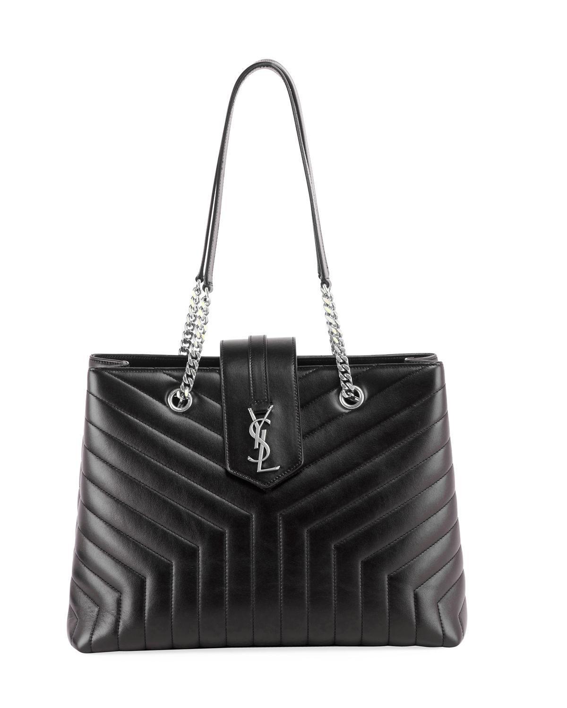 f0f79643f Saint Laurent. Women's Black Loulou Monogram Ysl Large Quilted Shoulder  Tote Bag ...