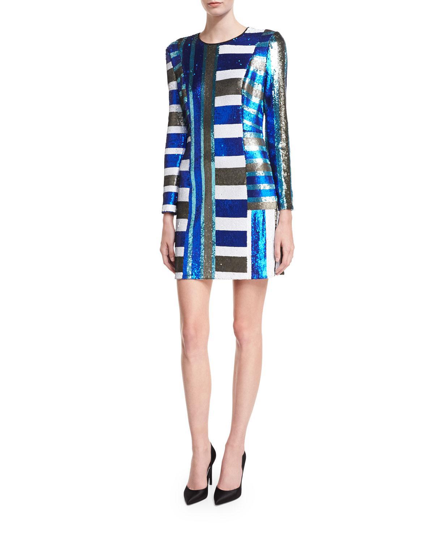 Lyst - Diane Von Furstenberg Long-sleeve Crewneck Sequin Mini ...