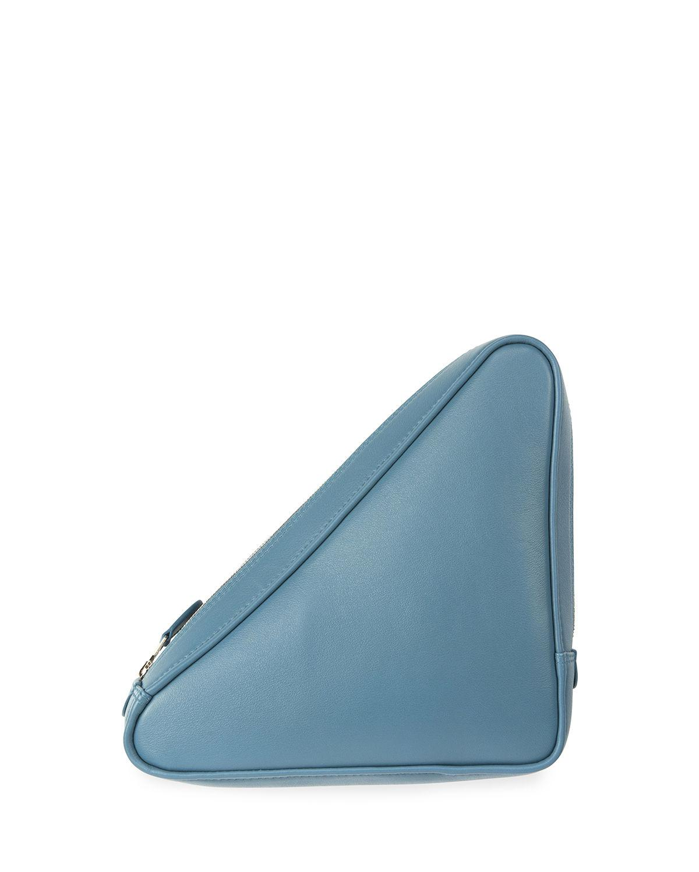 Triangle Printed Leather Pouch - Sky blue Balenciaga HAvDOqeG