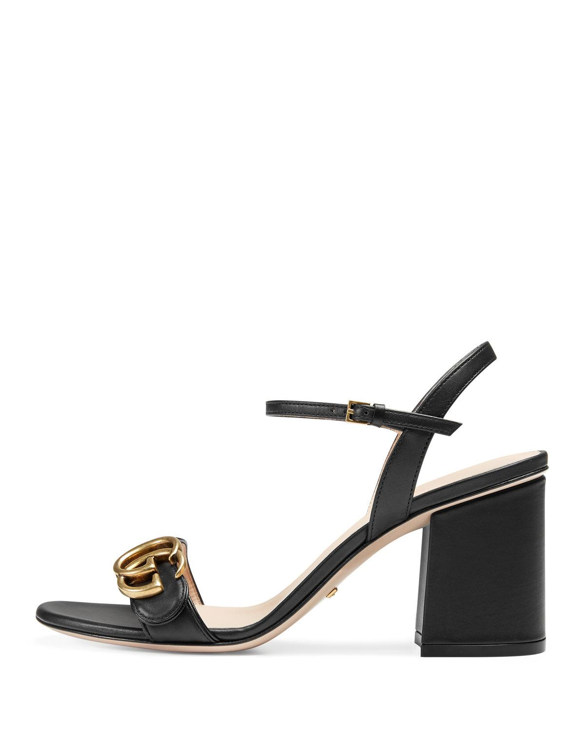 0c0cb7527ba Lyst - Gucci Marmont Leather GG Block-heel Sandals in Black