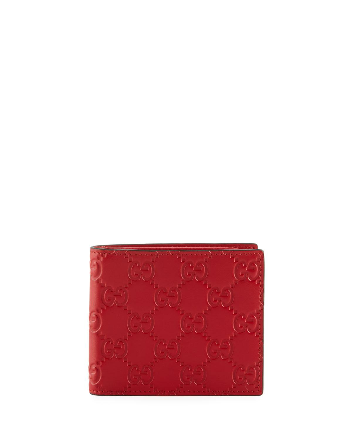 b7896b715a19a9 Gucci Signature Logo Leather Wallet in Red for Men - Lyst