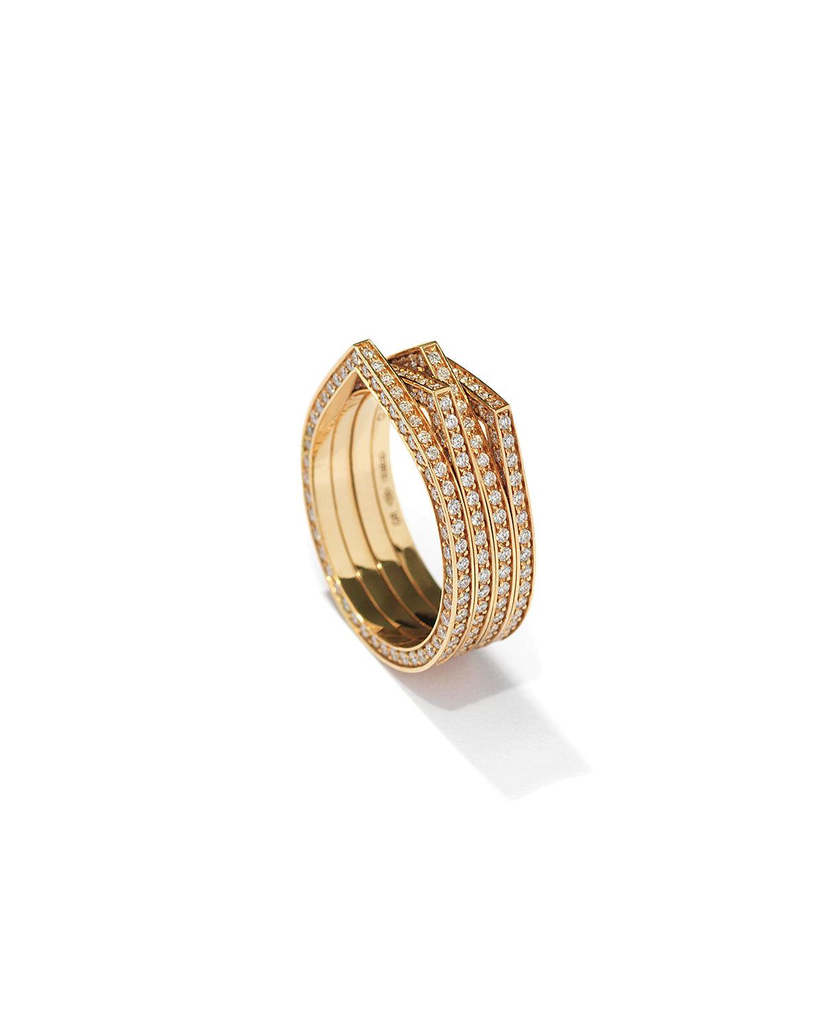 Repossi Antifer Four-Row Ring with Diamonds in 18K Gold BvI3pM