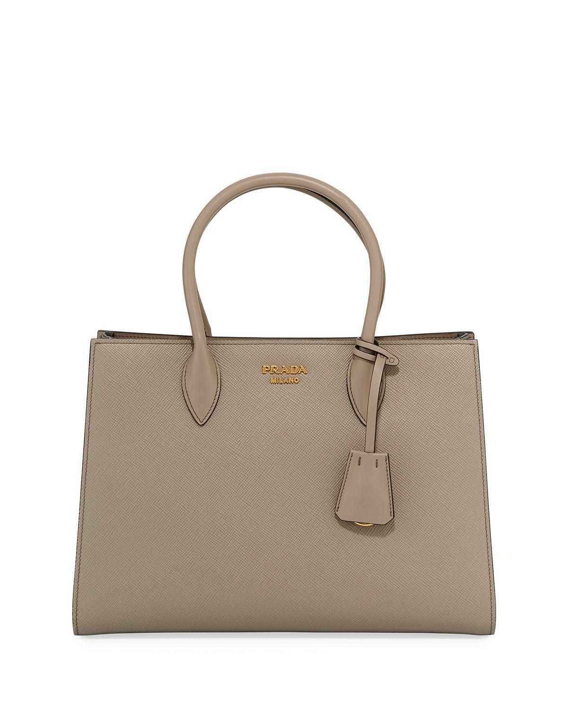 Prada - Brown Large Bicolor Saffiano Side-pleat Tote Bag - Lyst. View  fullscreen 32c19b50d6639