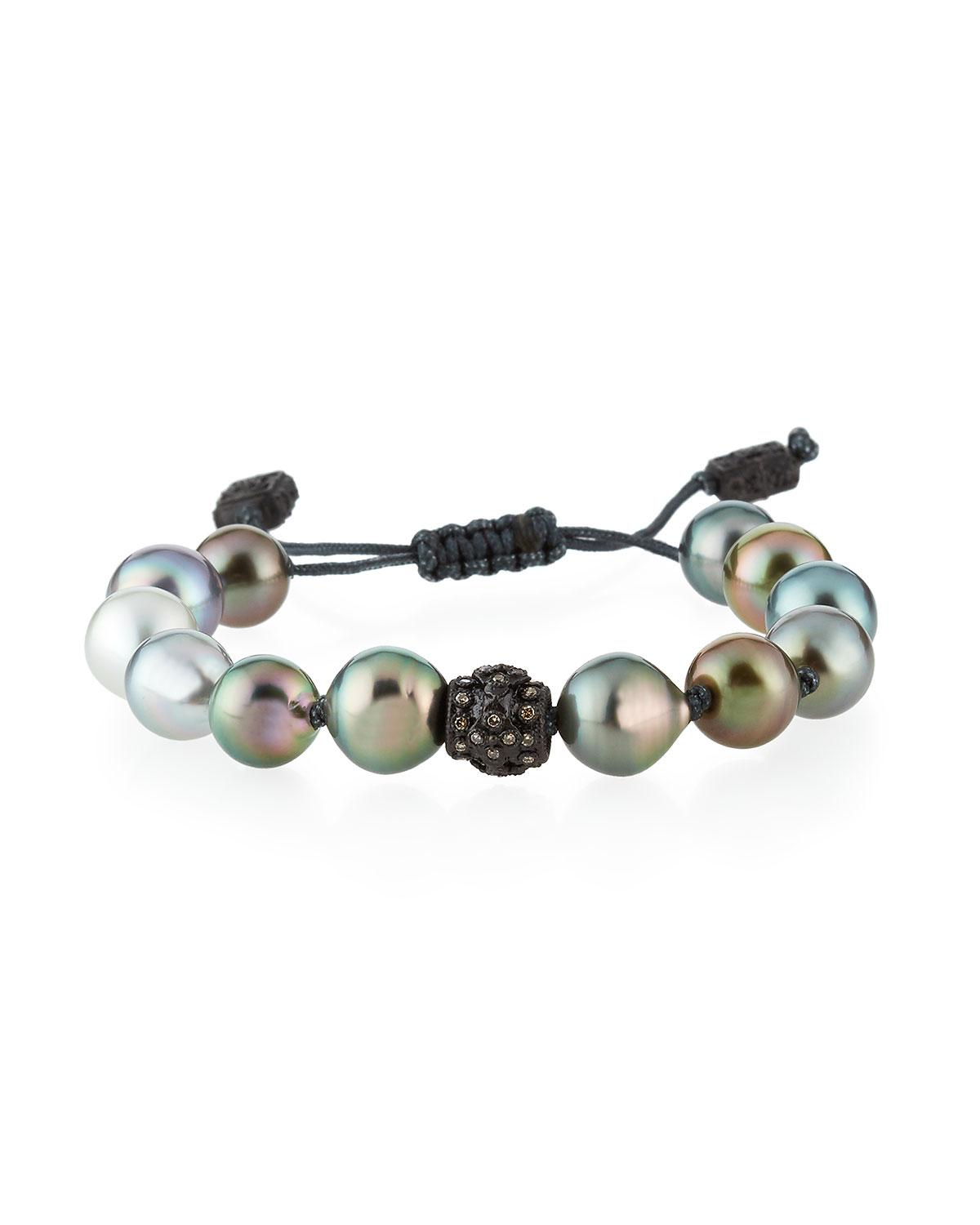 Lyst Armenta Old World Tahitian Pearl Pull Cord Bracelet With Champagne Diamonds In Black
