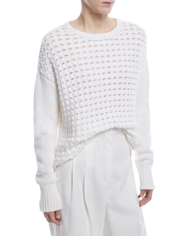 Loro piana Knit Cashmere Crewneck Sweater in White | Lyst