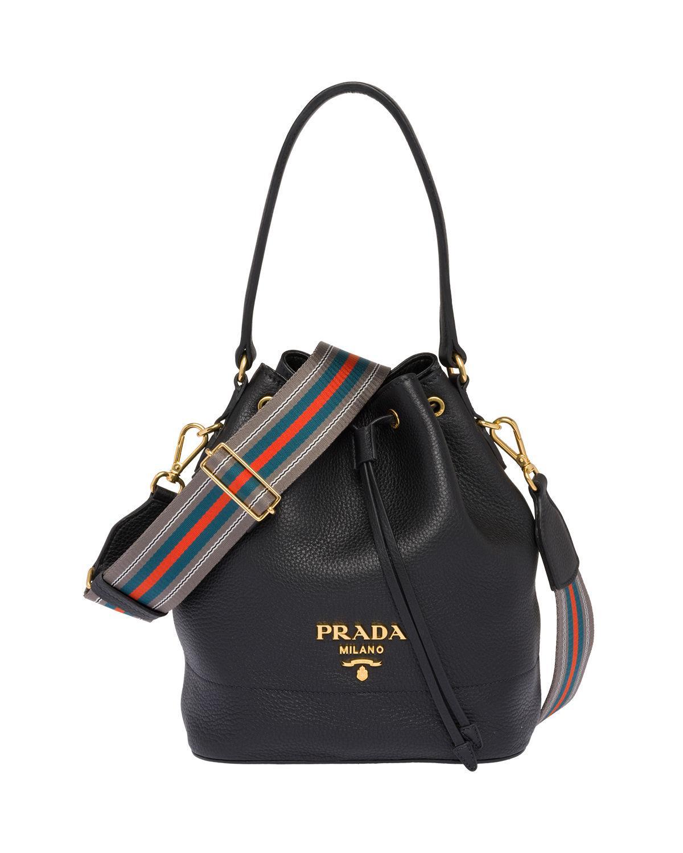 9ed9a9405a13 Prada Leather Bucket Bag in Black - Save 1% - Lyst
