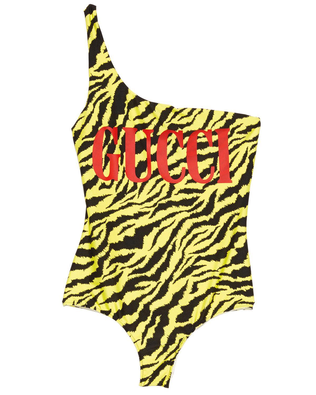 ddf51b0748 Lyst - Gucci One-shoulder Zebra-printed Swimsuit in Black