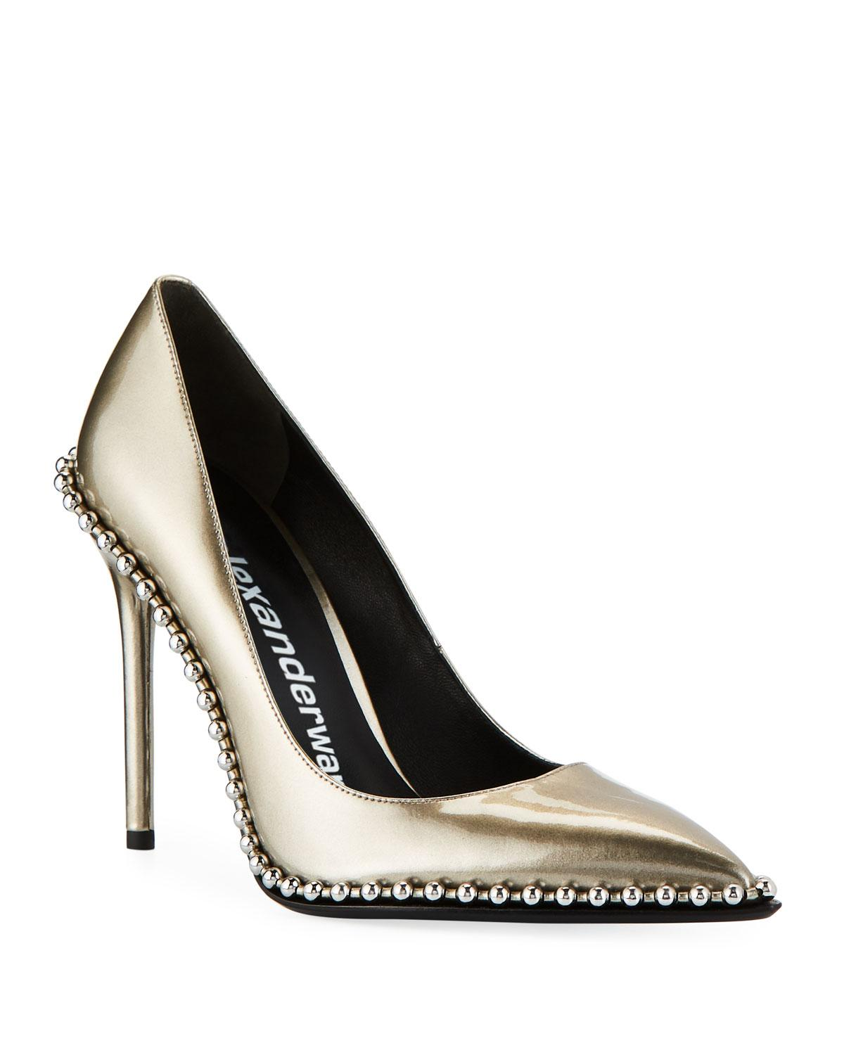 ac1c10d6781 Lyst - Alexander Wang Rie Studded Liquid Patent Leather Pumps in Black