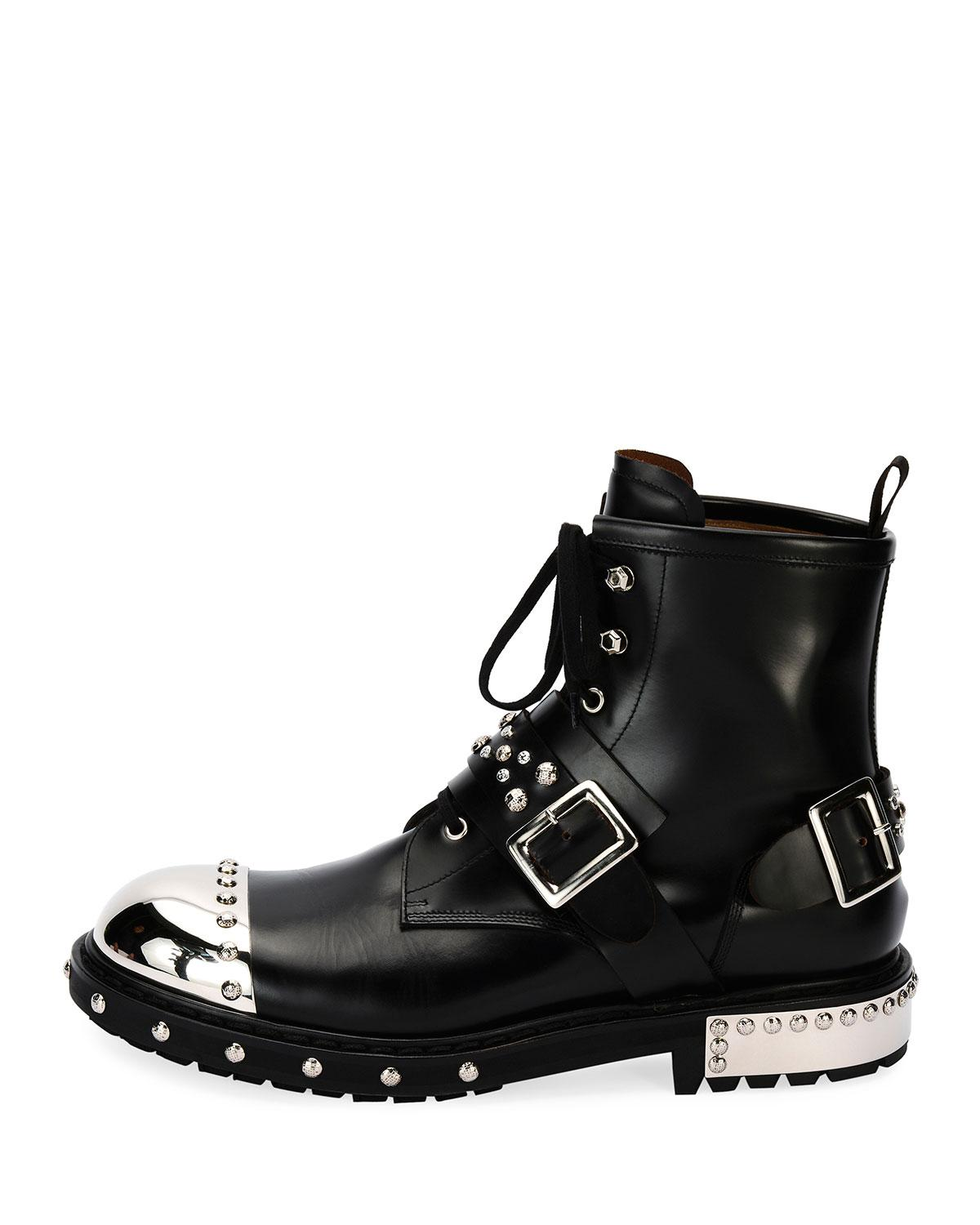 Alexander McQueen Black Studded Lace-Up Boots ktcIc