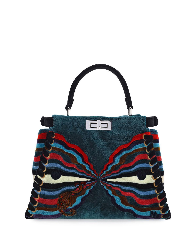 ab01831c50b Lyst - Fendi Peekaboo Medium Embroidered Velvet Bag in Blue