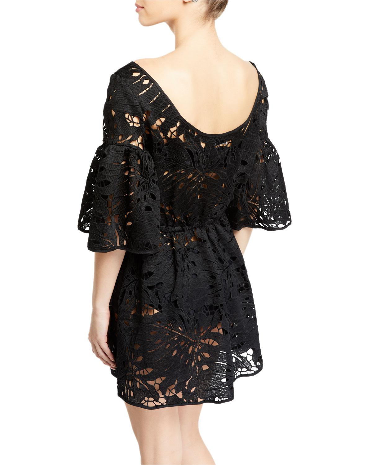 Lyst - MILLY Lynda Lace Short-sleeve Coverup Tunic in Black 632515162