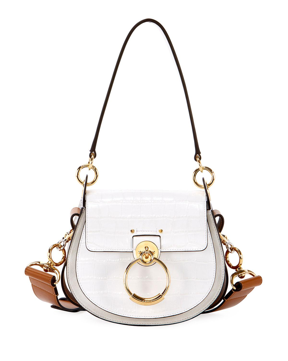5b874ab99ef9 Lyst - Chloé Tess Small Embossed Leather Shoulder Bag in White ...