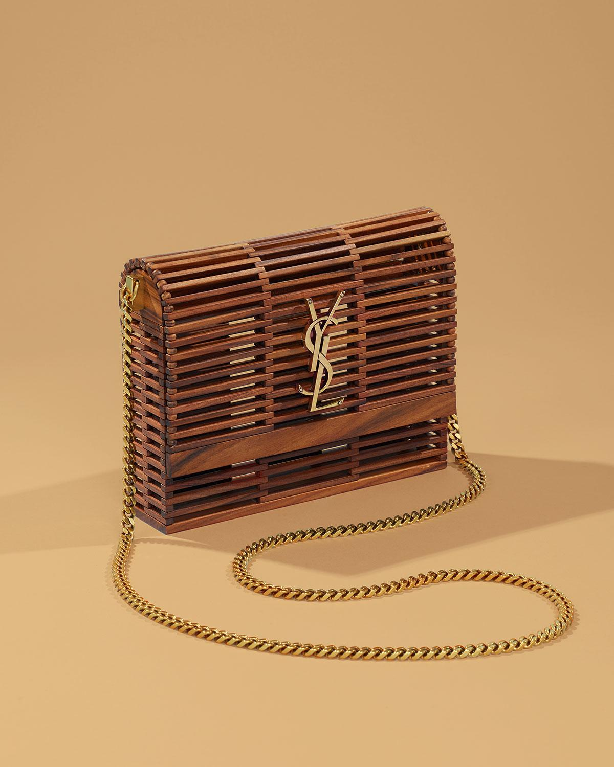 b773ad9117 Lyst - Saint Laurent Small Kate Wooden Weave Box Bag in Brown