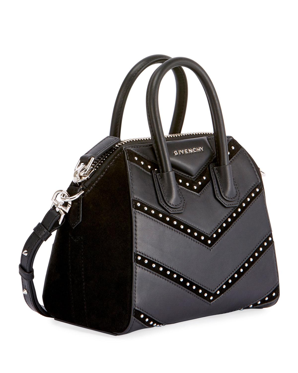 840743c795 Lyst - Givenchy Antigona Mini Studded Chevron Satchel Bag in Black
