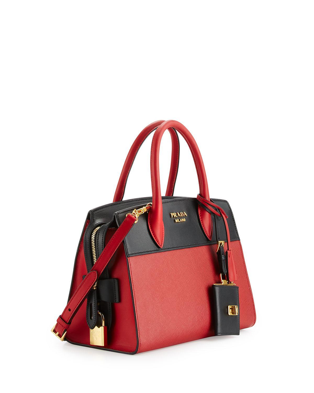 b0de9d7799 ... promo code for lyst prada esplanade medium bicolor city satchel bag in  black 62c70 d98dd ...
