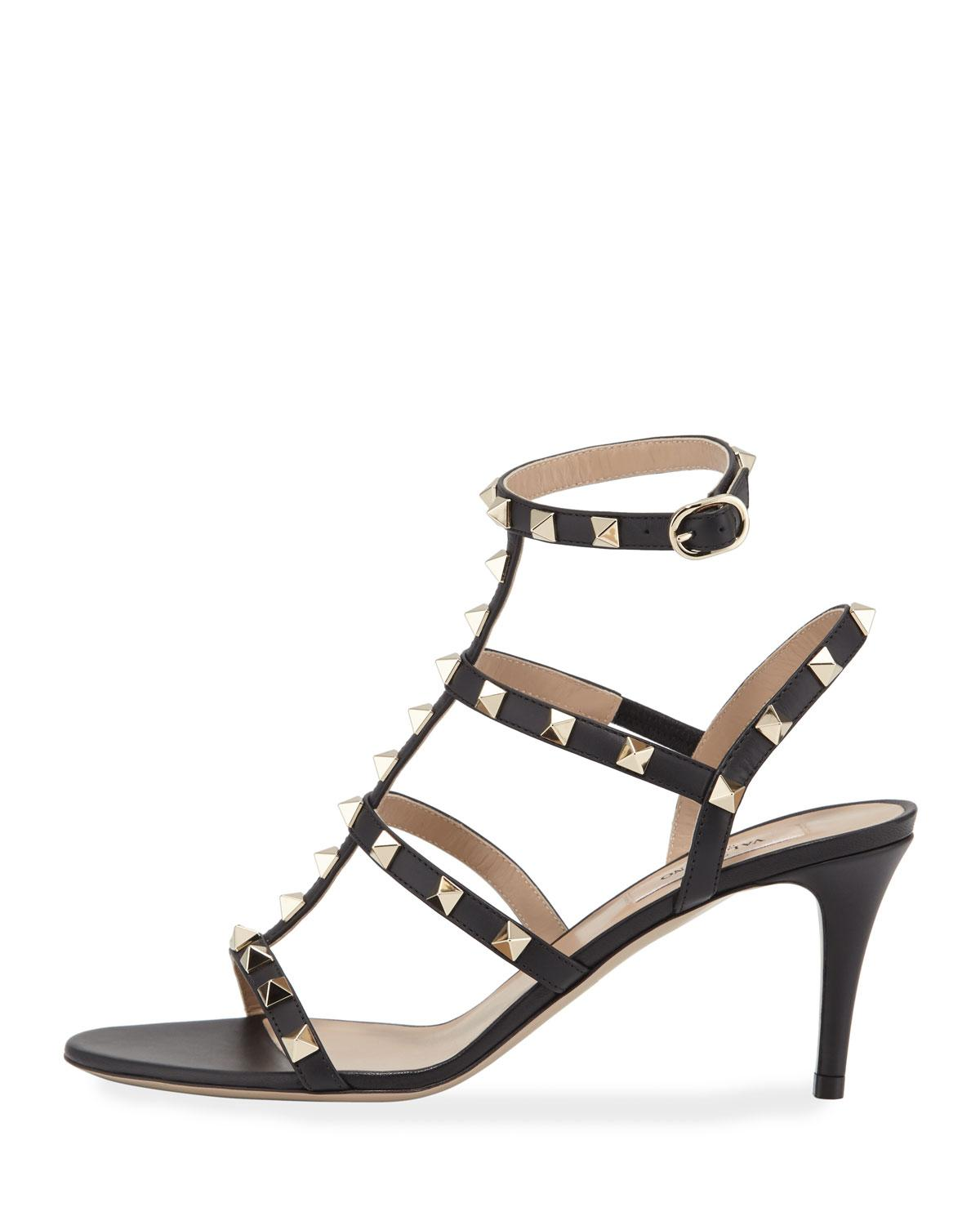 156ab159fa7a Lyst - Valentino Rockstud Caged Ankle-strap Sandals in Black - Save 43%