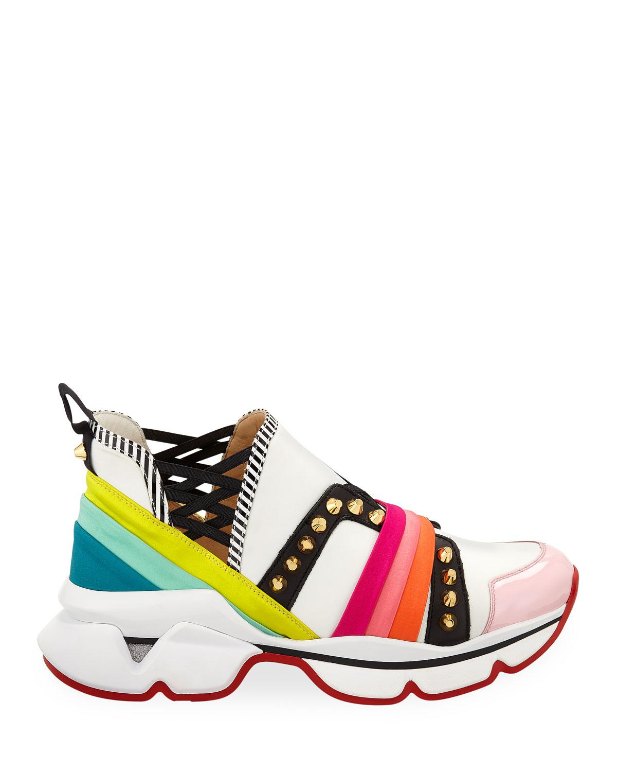 78c6d222290 Lyst - Christian Louboutin 123 Run Rainbow Red Sole Sneakers in Red