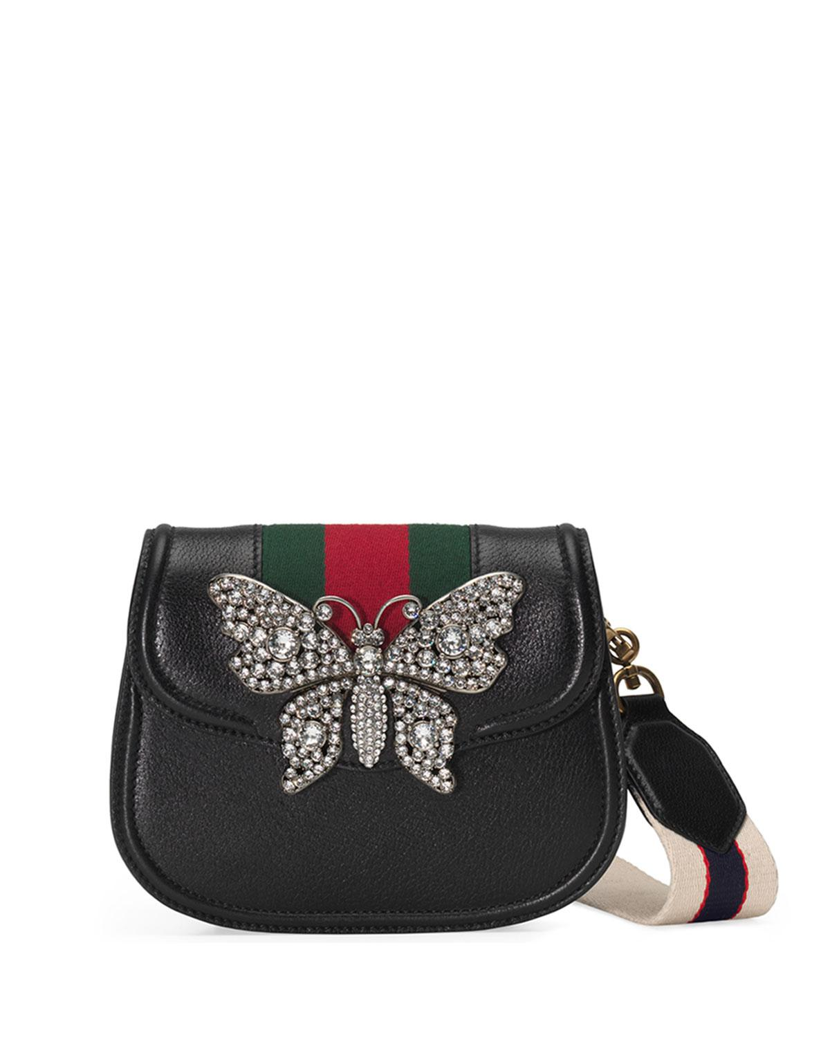 bb302f6e91e5d Lyst - Gucci Linea Totem Small Leather Shoulder Bag With Crystal ...