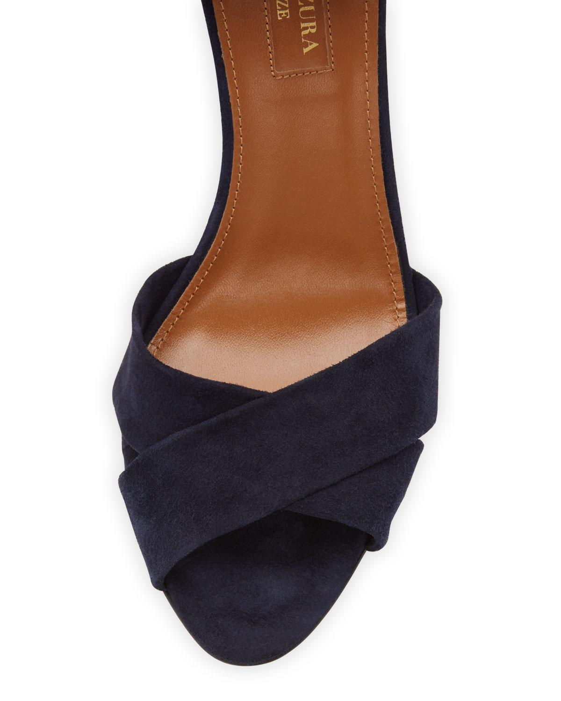 dc271ff86be Lyst - Aquazzura Tarzan Suede Ankle-wrap Wedge Sandal in Blue