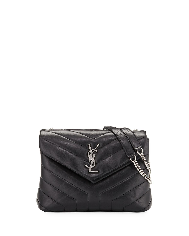Saint Laurent. Women s Black Loulou Monogram Ysl Small V-flap Chain Shoulder  Bag - Miroir Hardware f9c5df3d34a78