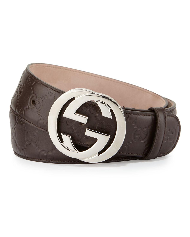 b065a548816 Gucci. Men s Brown Interlocking G-buckle Leather Belt.  450 From Bergdorf  Goodman