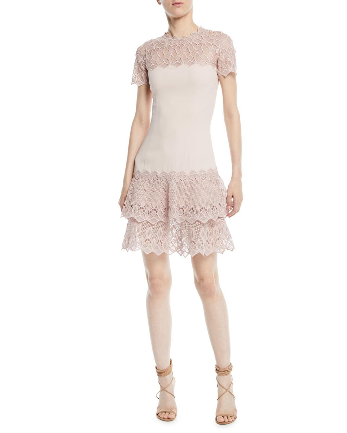 c105e1ad9ddc Jonathan Simkhai - Pink Diamond Crepe Applique Short-sleeve Mini Dress -  Lyst. View fullscreen