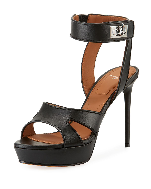 9fcf764f8176 Lyst - Givenchy Shark-lock Leather Platform Sandal in Black