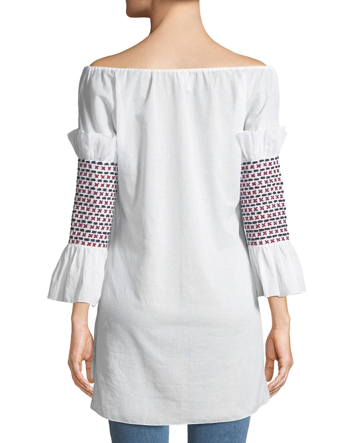 a83979fcaefb0 Lyst - Rosie Assoulin Off-the-shoulder Smock-sleeve Cotton Voile Top W   Embroidery in White