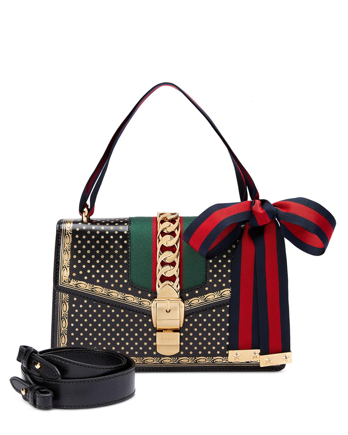 c6957cd6c75 Lyst Gucci Sylvie Small Stars Leather Shoulder Bag In Red