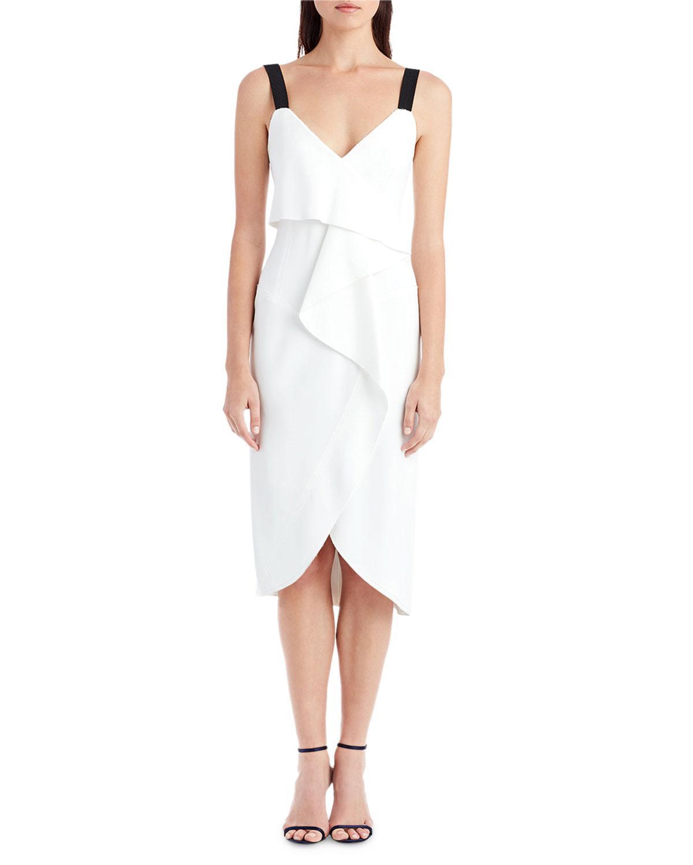 bc4ca26985d Lyst - Jason Wu Sleeveless V-neck Popover Cocktail Dress in White