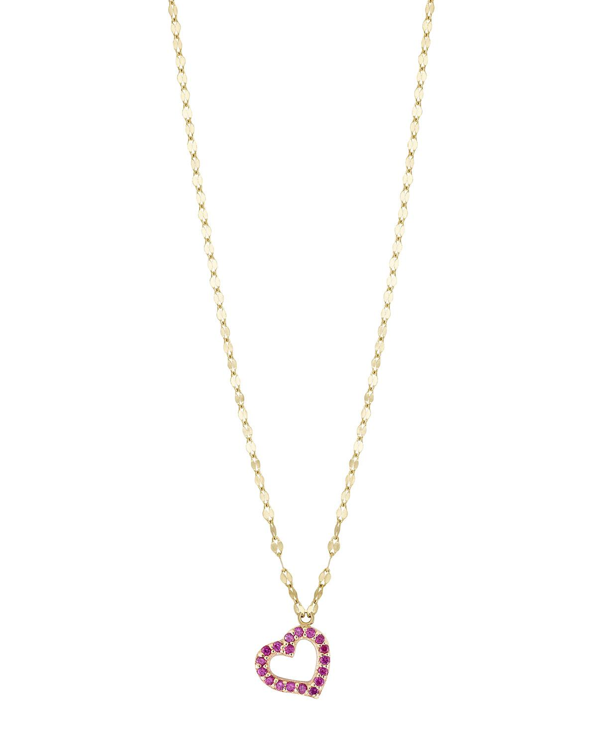Lana Jewelry 14k Large Heart Pendant Necklace w/ Pink Sapphire 0jUQWTWw