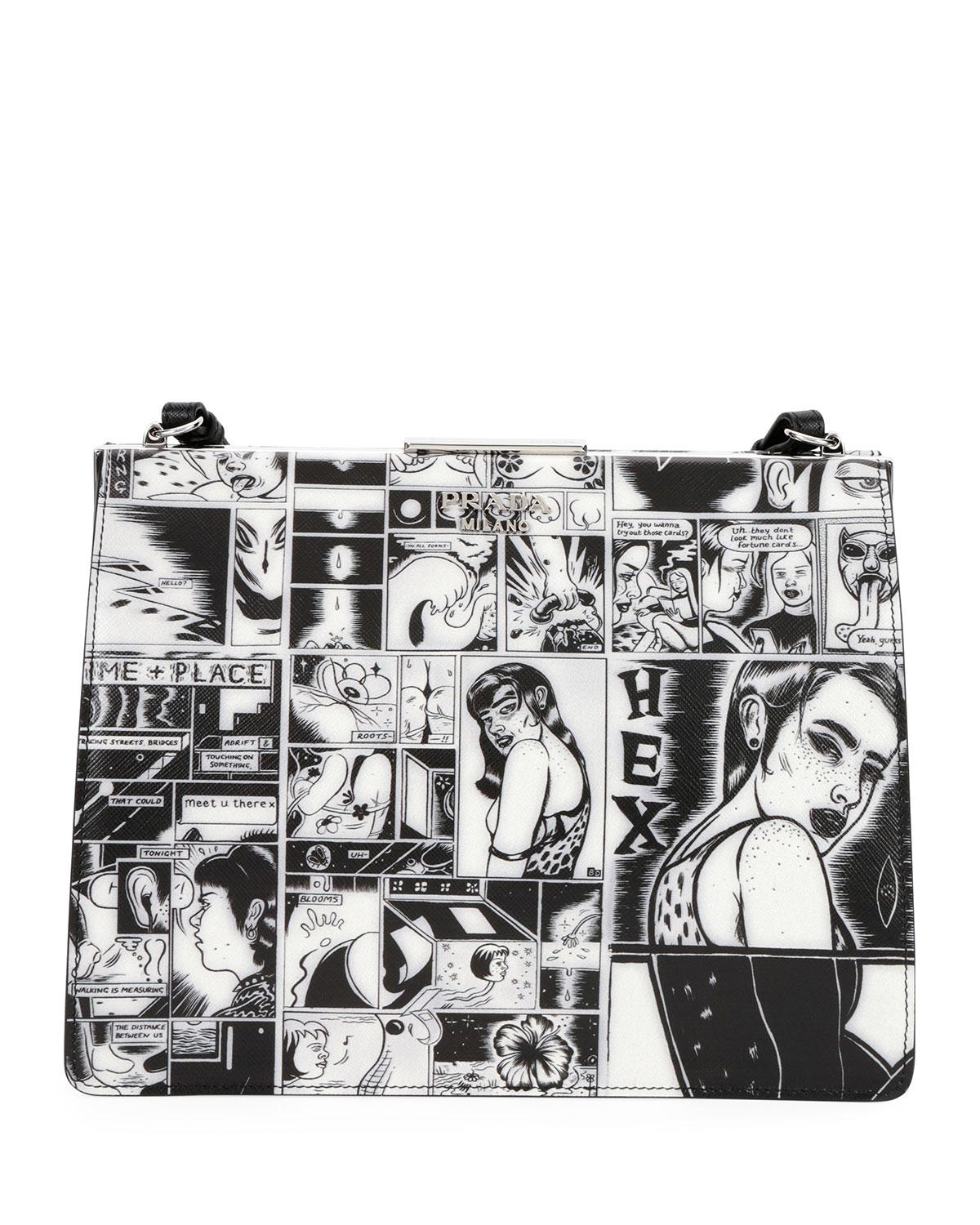 Lyst - Prada Comic-print Leather Frame Shoulder Bag in Black