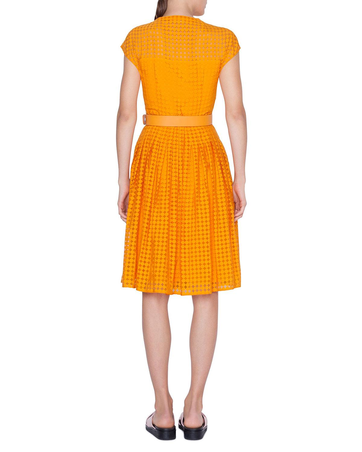 1dd8014b36 Lyst - Akris Punto Belted Dotted Lace Illusion Dress in Orange