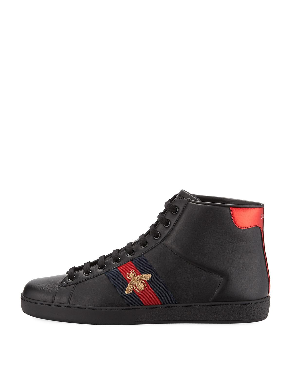 Ace bee-embroidered high-top leather trainers Gucci lNENjfO5G