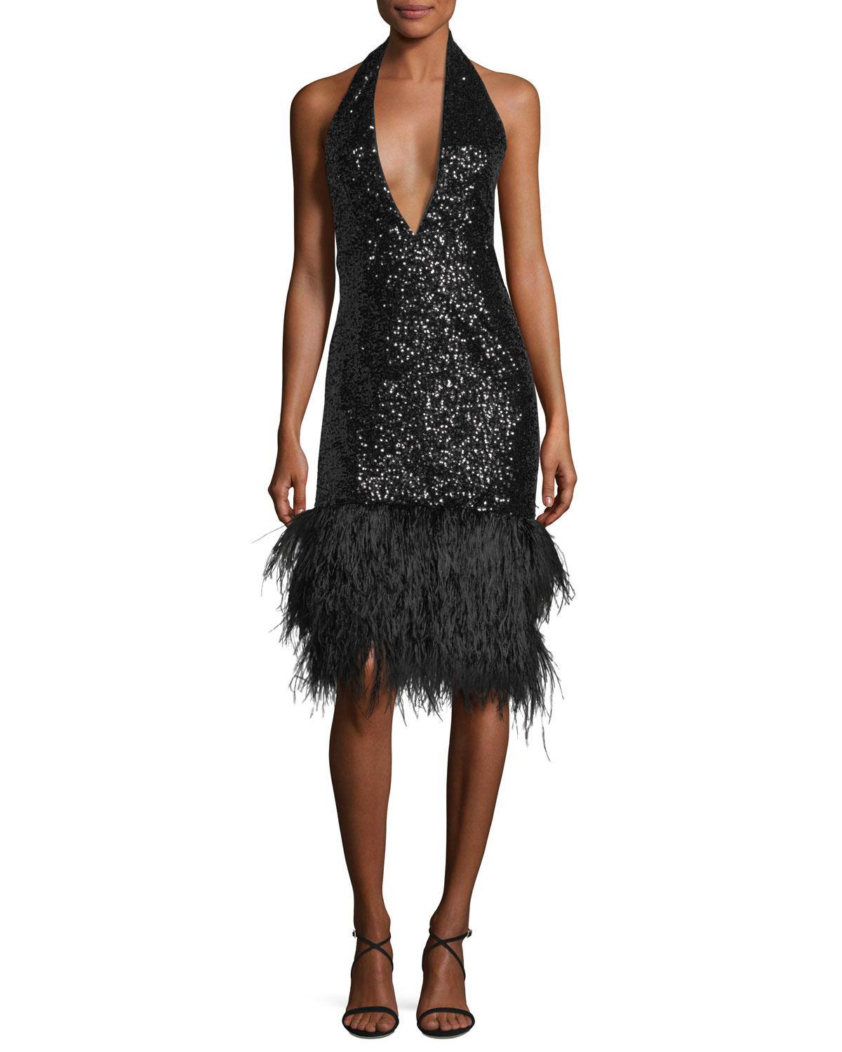 1922aa8d2c91 MILLY Amelia Plunging Halter Sequined Cocktail Dress in Black - Lyst