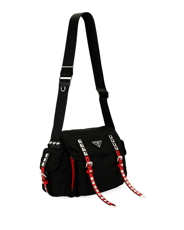 3a2b6a9e6fb4 Lyst - Prada Black Nylon Bucket Bag With Studding in Black