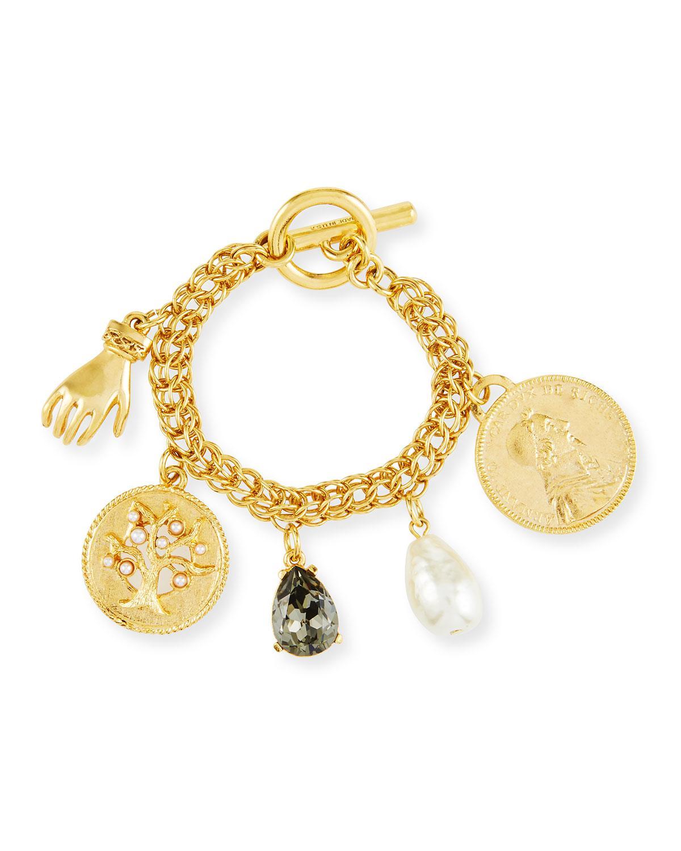Oscar De La A Women S Metallic Mixed Talisman Coin Toggle Charm Bracelet