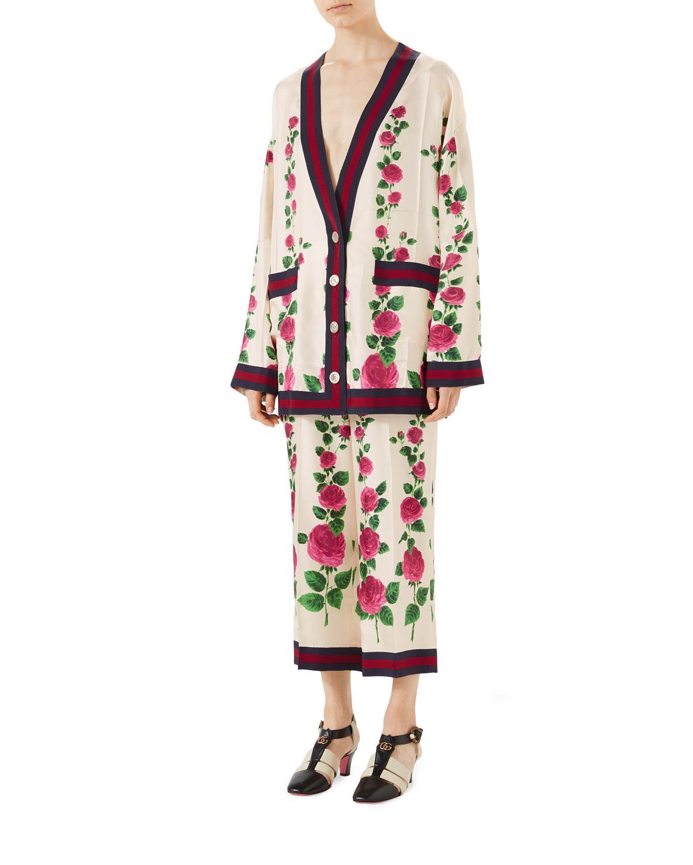 d2b08573 Gucci Mini Jardin De Rose Pajama-style Pants With Web Detail in ...