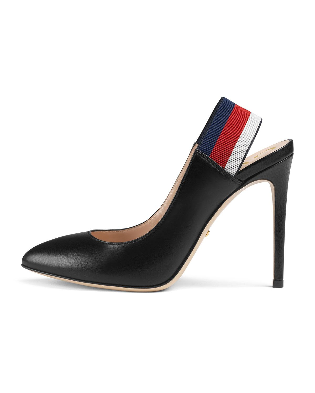 Leather Web slingback pumps - Black Gucci djlBdwb1tj