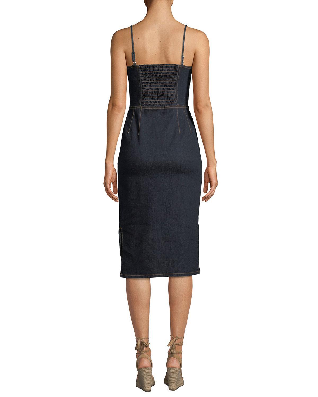 10b2ed6e99 Current Elliott. Women s Black The Jacqueline Paneled Zip-front Denim Midi  Dress