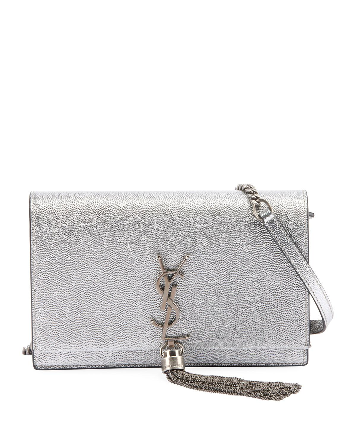 d446f26a6479 Saint Laurent. Women s Kate Monogram Ysl Small Crackled Metallic Tassel  Wallet On Chain ...
