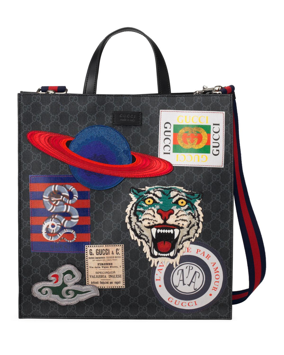 d927f937e51ccd Gucci - Black Men's GG Supreme Tote Bag With Patches - Lyst. View fullscreen