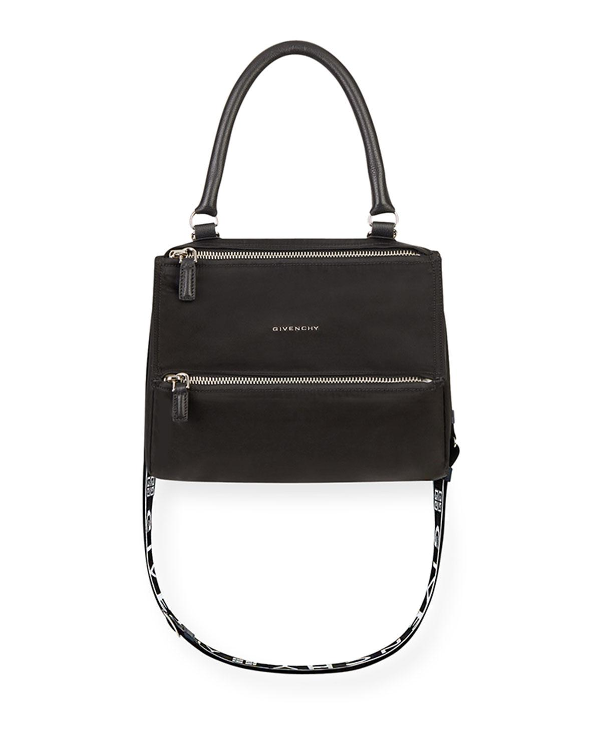 a0d878115a01 Givenchy - Black Pandora Small Fabric Satchel Bag With Logo Strap - Lyst.  View fullscreen