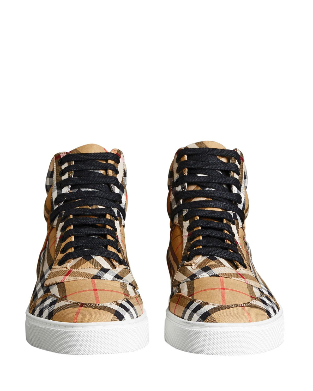746ccbd1739 Burberry - Yellow Men s Reeth Signature Check Canvas High-top Sneakers for  Men - Lyst. View fullscreen