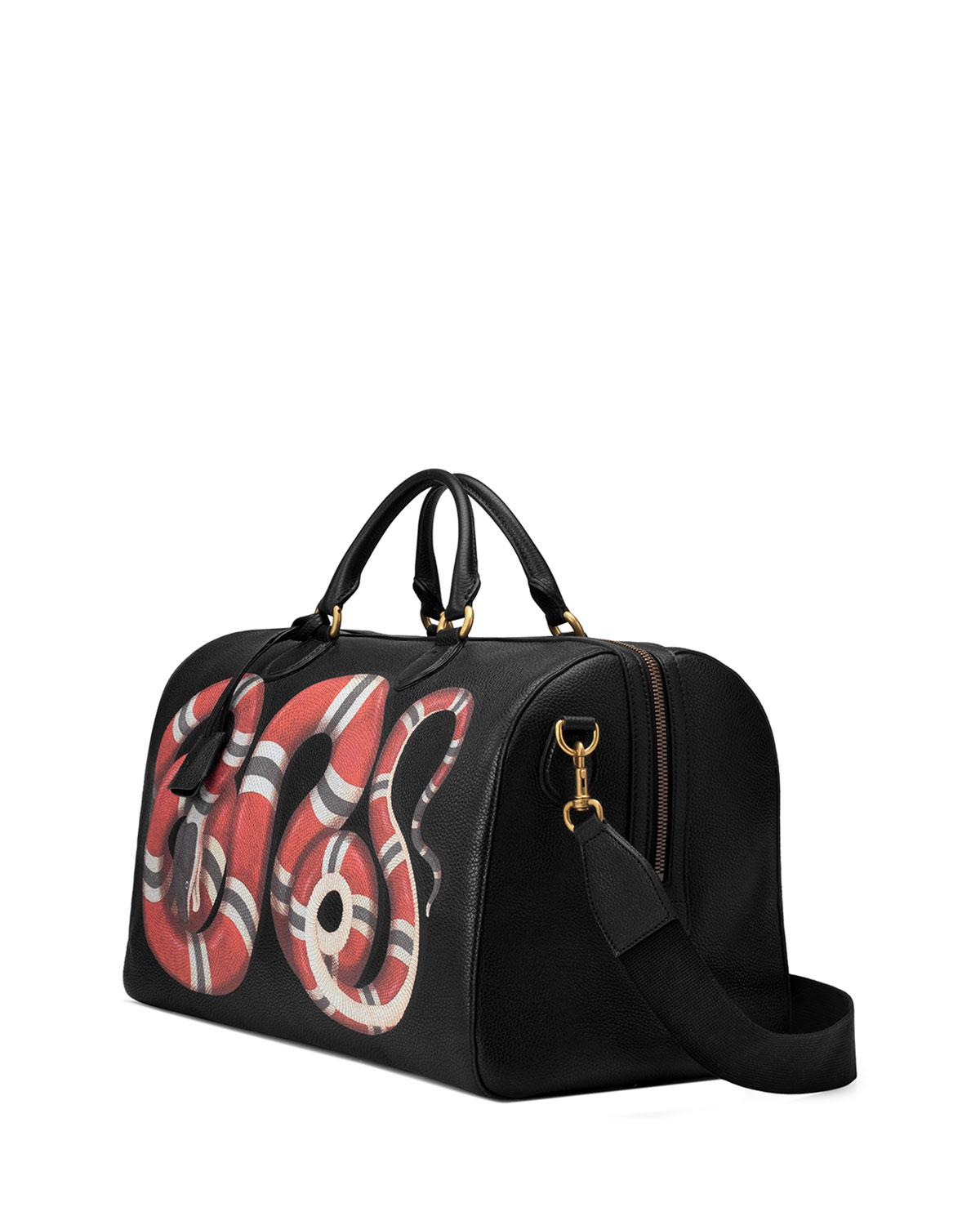 b35975287906 Gucci Men's King Snake-print Duffel Bag in Black for Men - Lyst